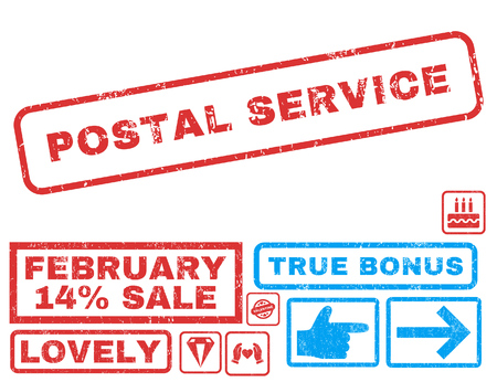 postal service: Postal Service text rubber seal stamp watermark with Valentines sale bonus. Tags inside rectangular shape with grunge design and dust texture. Vector stickers for trading on a white background. Illustration