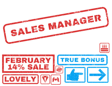 sales manager: Sales Manager text rubber seal stamp watermark with Valentines sale bonus. Tags inside rectangular shape with grunge design and dirty texture. Vector stickers for trading on a white background. Illustration