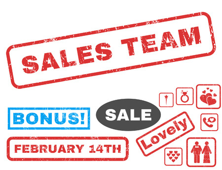 sales team: Sales Team text rubber seal stamp watermark with Valentines sale bonus. Tags inside rectangular banner with grunge design and dirty texture. Vector stickers for trading on a white background.
