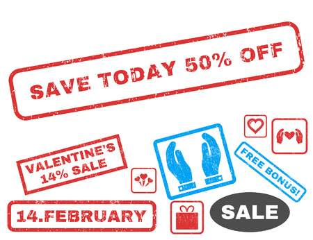 Save Today 50 Percent Off text rubber seal stamp watermark with Valentines sale bonus. Tags inside rectangular banner with grunge design and dust texture. Illustration