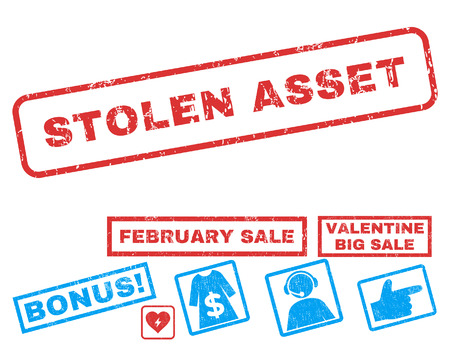 hacked: Stolen Asset text rubber seal stamp watermark with Valentines sale bonus. Captions inside rectangular banner with grunge design and unclean texture. Vector stickers for trading on a white background.