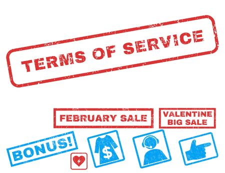 Terms Of Service text rubber seal stamp watermark with Valentines sale bonus. Captions inside rectangular shape with grunge design and dirty texture. Vector signs for trading on a white background. Illustration