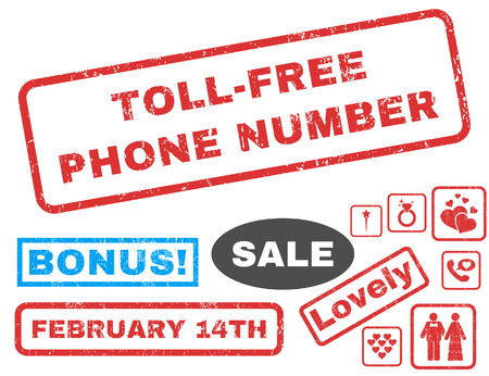 toll free: Toll-Free Phone Number text rubber seal stamp watermark with Valentines sale bonus. Captions inside rectangular shape with grunge design and dust texture.