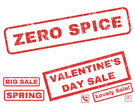 Zero Spice text rubber seal stamp watermark with Valentines sale bonus. Captions inside rectangular banner with grunge design and dust texture. Vector emblems for trading on a white background.