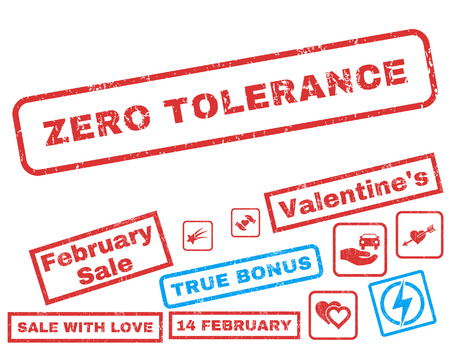 Zero Tolerance text rubber seal stamp watermark with Valentines sale bonus. Tags inside rectangular shape with grunge design and dirty texture. Vector stickers for trading on a white background.