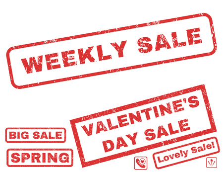 Weekly Sale text rubber seal stamp watermark with Valentines sale bonus. Captions inside rectangular banner with grunge design and unclean texture. Vector signs for trading on a white background. Illustration
