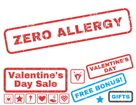 Zero Allergy text rubber seal stamp watermark with Valentines sale bonus. Captions inside rectangular shape with grunge design and dust texture. Vector stickers for trading on a white background.