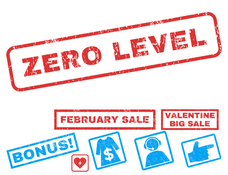 Zero Level text rubber seal stamp watermark with Valentines sale bonus. Tags inside rectangular banner with grunge design and dirty texture. Vector stickers for trading on a white background.