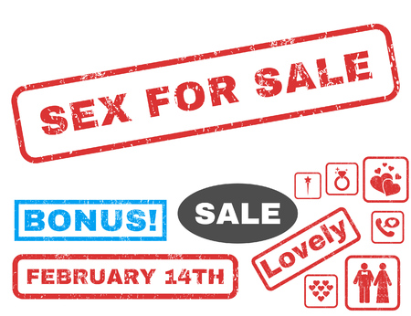 Sex For Sale text rubber seal stamp watermark with Valentine's sale bonus. Captions inside rectangular shape with grunge design and dirty texture. Vector emblems for trading on a white background.