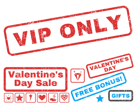 Vip Only text rubber seal stamp watermark with Valentines sale bonus. Tags inside rectangular shape with grunge design and dust texture. Vector stickers for trading on a white background.