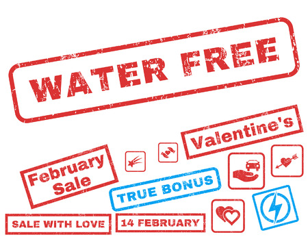 Water Free text rubber seal stamp watermark with Valentine's sale bonus. Captions inside rectangular shape with grunge design and scratched texture. Vector signs for trading on a white background. Vectores