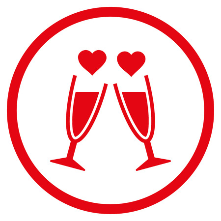 Clink Glasses rounded icon. Raster illustration style is flat iconic symbol inside circle, red color, white background.