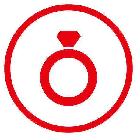 zafiro: Diamond Ring rounded icon. Raster illustration style is flat iconic symbol inside circle, red color, white background. Foto de archivo