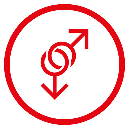 Gay Love Symbol rounded icon. Raster illustration style is flat iconic symbol inside circle, red color, white background.