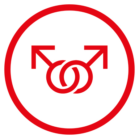 raster sex: Gay Love Symbol rounded icon. Raster illustration style is flat iconic symbol inside circle, red color, white background.