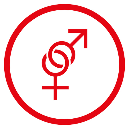 Sex Symbol rounded icon. Raster illustration style is flat iconic symbol inside circle, red color, white background.