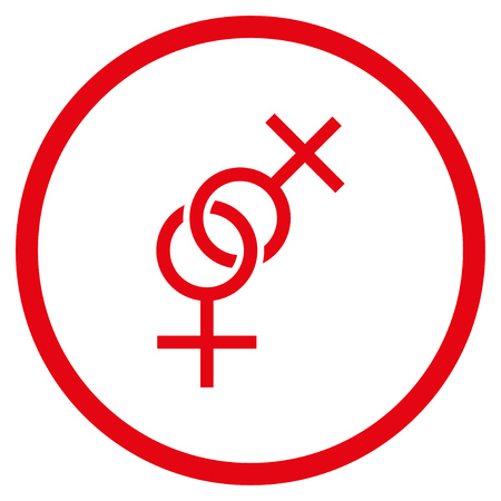 Lesbian Love Symbol rounded icon. Raster illustration style is flat iconic symbol inside circle, red color, white background. Stock Photo