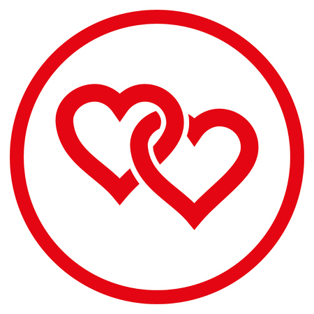 Linked Hearts rounded icon. Raster illustration style is flat iconic symbol inside circle, red color, white background.