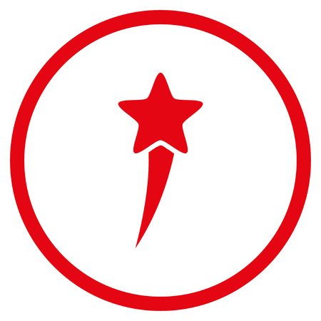 Starting Star rounded icon. Raster illustration style is flat iconic symbol inside circle, red color, white background. Stock Photo