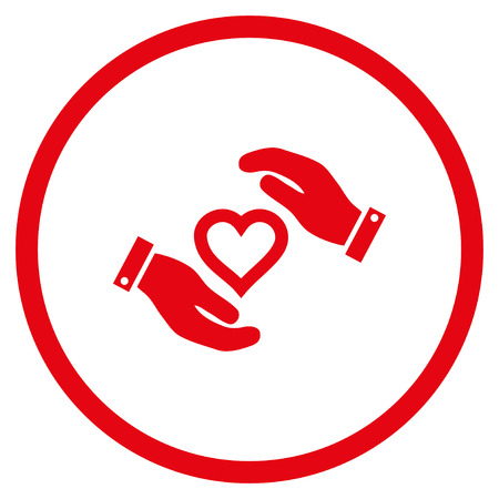 Love Heart Care Hands rounded icon. Raster illustration style is flat iconic symbol inside circle, red color, white background.