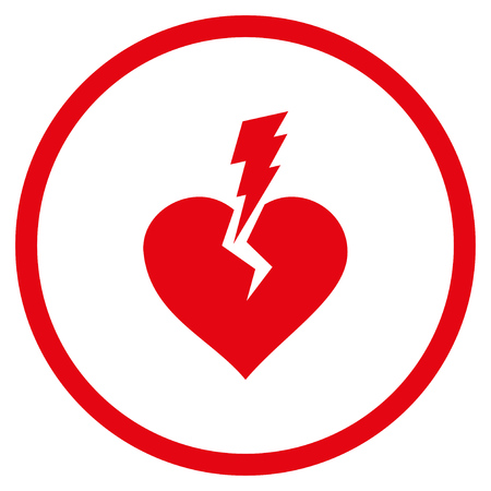 Love Heart Crash rounded icon. Raster illustration style is flat iconic symbol inside circle, red color, white background. Stock Photo