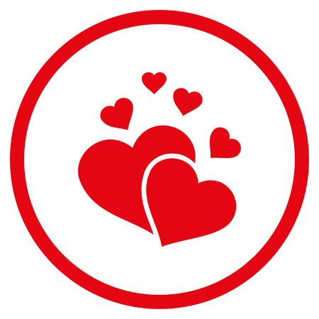 Lovely Hearts rounded icon. Raster illustration style is flat iconic symbol inside circle, red color, white background. Stock Photo