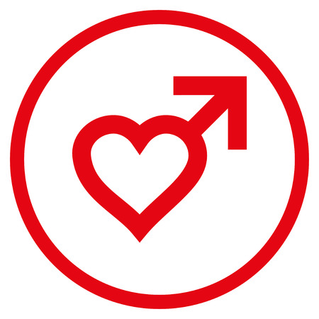 Male Heart rounded icon. Raster illustration style is flat iconic symbol inside circle, red color, white background. Stock Photo