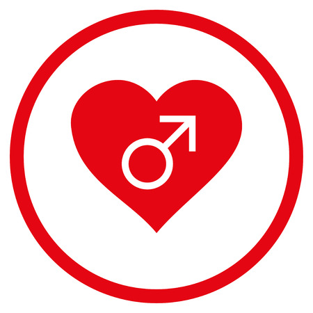 raster sex: Male Love Heart rounded icon. Raster illustration style is flat iconic symbol inside circle, red color, white background. Stock Photo