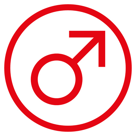 Mars Male Symbol rounded icon. Raster illustration style is flat iconic symbol inside circle, red color, white background.