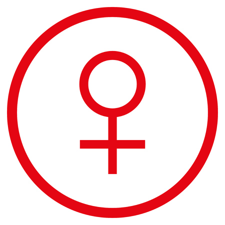 raster sex: Venus Female Symbol rounded icon. Raster illustration style is flat iconic symbol inside circle, red color, white background.