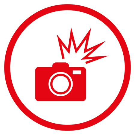 Camera Flash rounded icon. Vector illustration style is flat iconic symbol inside circle, red color, white background. Illustration