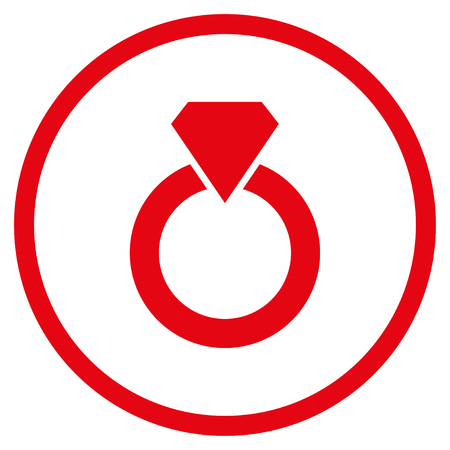ruby: Diamond Ring rounded icon. Vector illustration style is flat iconic symbol inside circle, red color, white background.