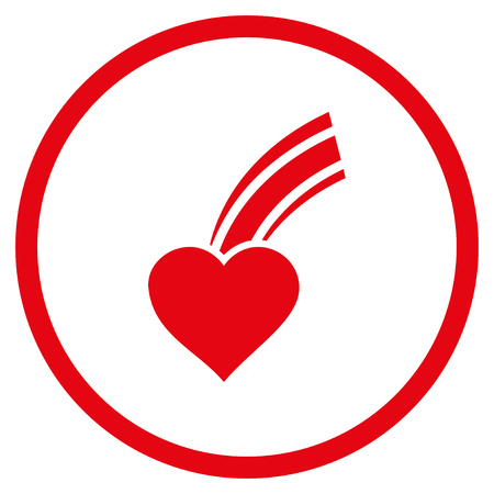 Falling Heart rounded icon. Vector illustration style is flat iconic symbol inside circle, red color, white background.
