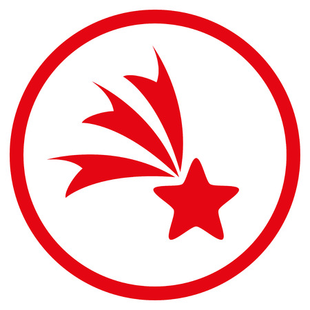 Falling Star rounded icon. Vector illustration style is flat iconic symbol inside circle, red color, white background.
