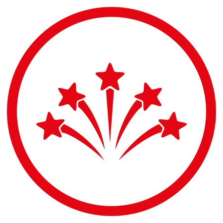 Fireworks Burst rounded icon. Vector illustration style is flat iconic symbol inside circle, red color, white background.