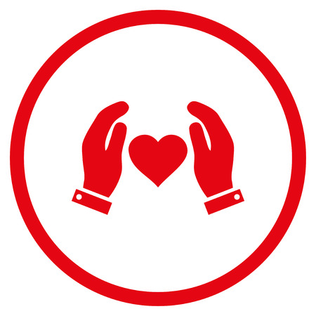 Love Care Hands rounded icon. Vector illustration style is flat iconic symbol inside circle, red color, white background.