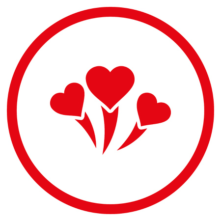 Love Heart Fireworks rounded icon. Vector illustration style is flat iconic symbol inside circle, red color, white background.