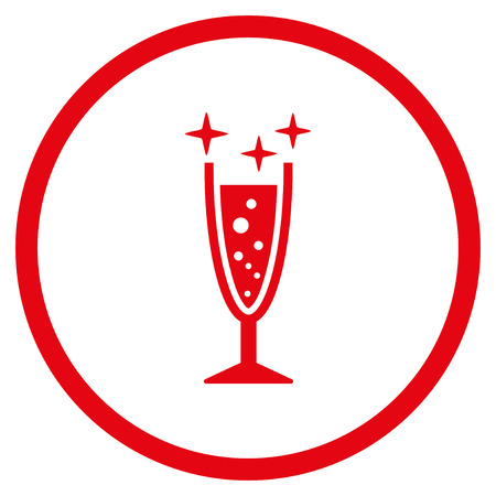 aerated: Sparkle Wine Glass rounded icon. Vector illustration style is flat iconic symbol inside circle, red color, white background. Illustration