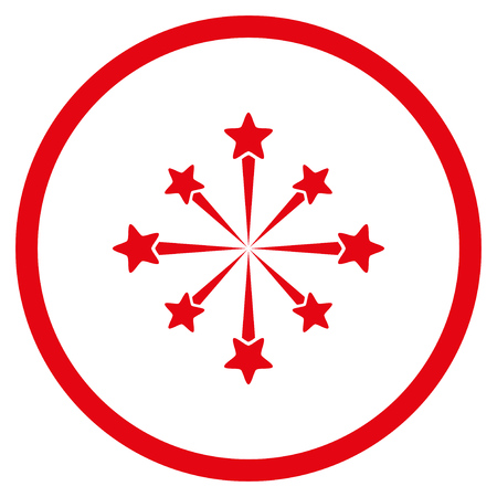 Star Burst Fireworks rounded icon. Vector illustration style is flat iconic symbol inside circle, red color, white background. Illustration