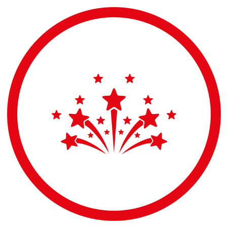 Star Fireworks rounded icon. Vector illustration style is flat iconic symbol inside circle, red color, white background.