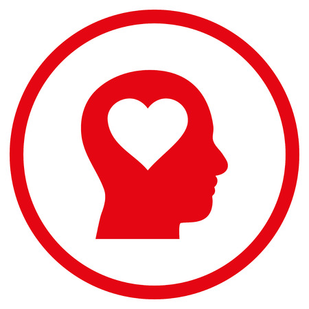 Love In Head rounded icon. Vector illustration style is flat iconic symbol inside circle, red color, white background.
