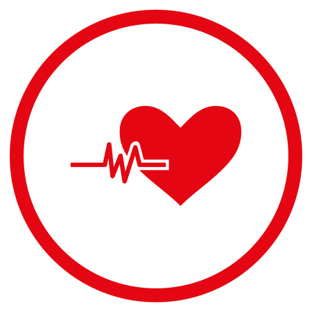 Heart Pulse rounded icon. Vector illustration style is flat iconic symbol inside circle, red color, white background. Illustration