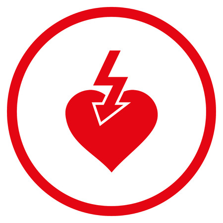 heartbreak: Heart Shock Strike rounded icon. Vector illustration style is flat iconic symbol inside circle, red color, white background.