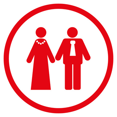 engagement party: Newlyweds rounded icon. Vector illustration style is flat iconic symbol inside circle, red color, white background. Illustration