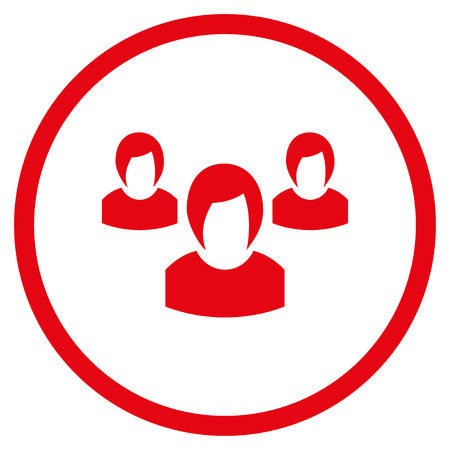 Woman Group rounded icon. Vector illustration style is flat iconic symbol inside circle, red color, white background.