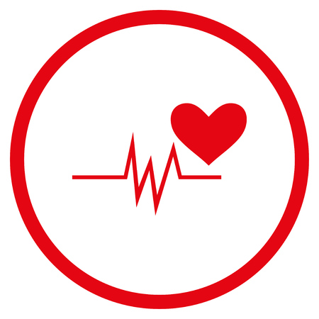 Heart Pulse Signal rounded icon. Vector illustration style is flat iconic symbol inside circle, red color, white background. Illustration
