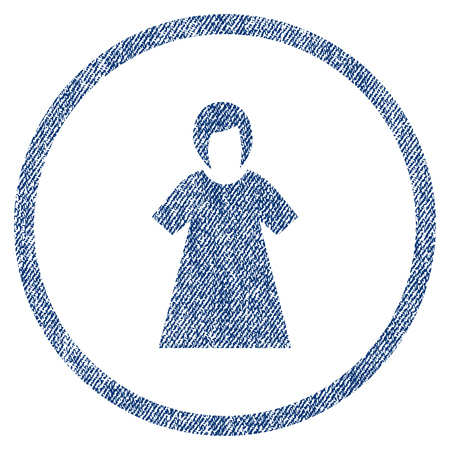 Lady Figure textured icon for overlay watermark stamps. Blue jeans fabric rasterized texture. Rounded flat raster symbol with dust design.