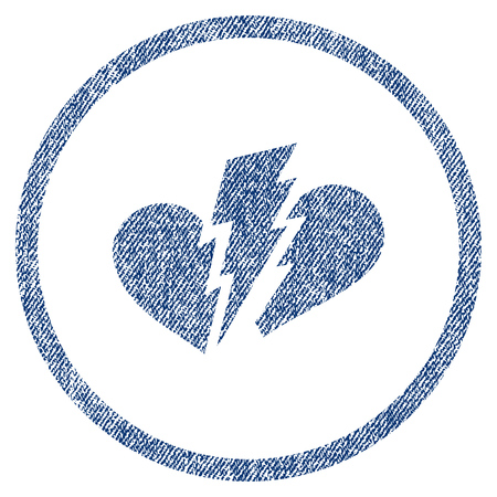 heartbreak issues: Broken Heart textured icon for overlay watermark stamps. Blue jeans fabric rasterized texture. Rounded flat raster symbol with scratched design.