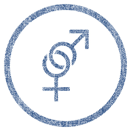 raster sex: Sex Symbol textured icon for overlay watermark stamps. Blue jeans fabric rasterized texture. Rounded flat raster symbol with dirty design.