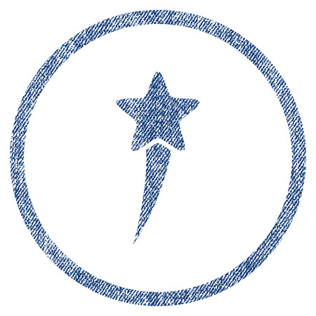 Starting Star textured icon for overlay watermark stamps. Blue jeans fabric rasterized texture. Rounded flat raster symbol with dust design. Stock Photo